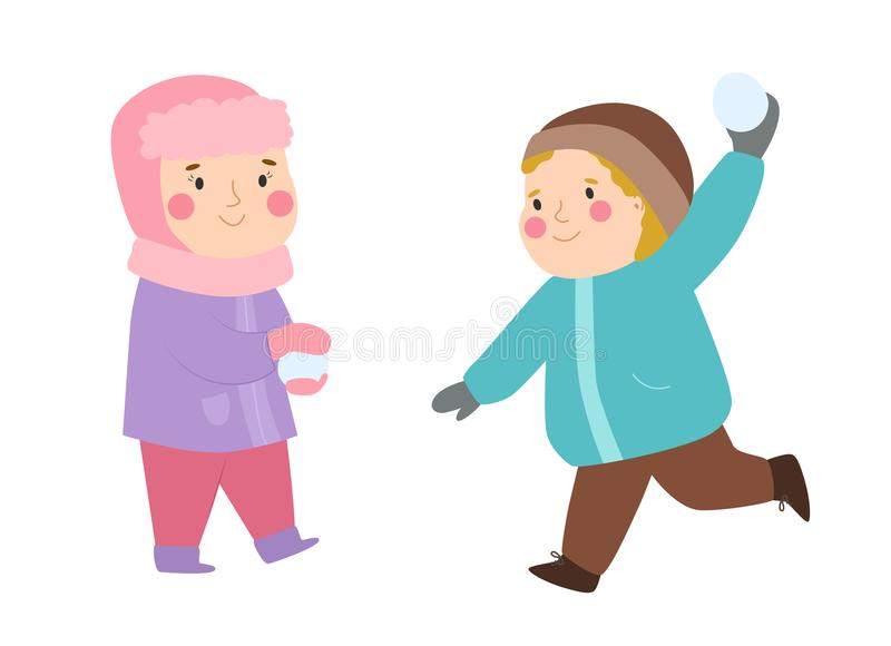 Kids winter Christmas games playground children playing sport games of kinds snowball, skating, kiddy holidays playtime. Kids winter Christmas game playground vector illustration