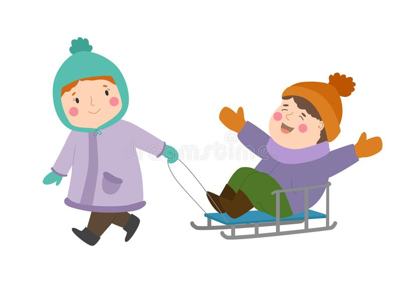 Kids winter Christmas games playground children playing sport games of kinds snowball, skating, kiddy holidays playtime. Kids winter Christmas game playground stock illustration