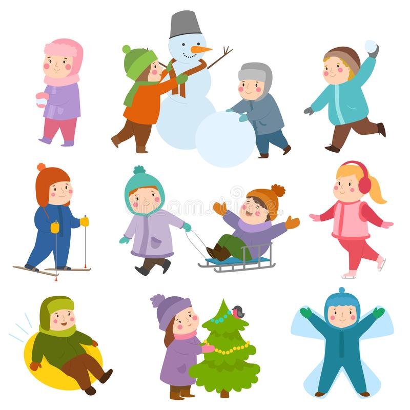 Kids winter Christmas games playground children playing sport games of kinds snowball, skating, kiddy holidays playtime. Kids winter Christmas game playground royalty free illustration