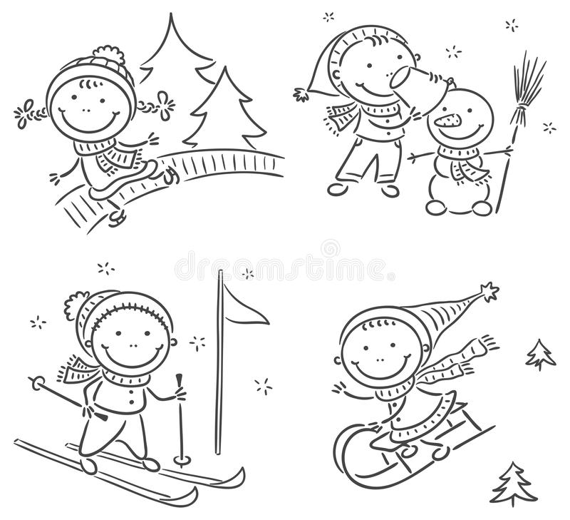 Kids winter outdoors activities vector illustration
