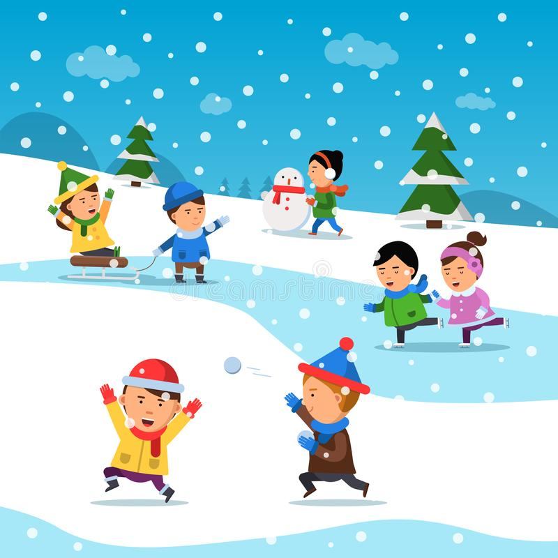 Kids winter playing. Funny smile happiness childrens at cold snowy playground holiday cartoon vector background stock illustration