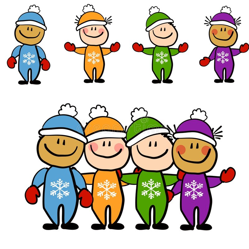 Kids in Winter Snowsuits. An illustration featuring an assortment of kids dressed in their snowsuits individually and as a group royalty free illustration