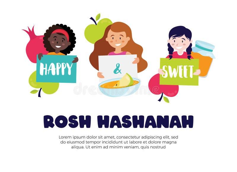 Kids wishing happy and sweet rosh hashana greeting card. Vector stock illustration