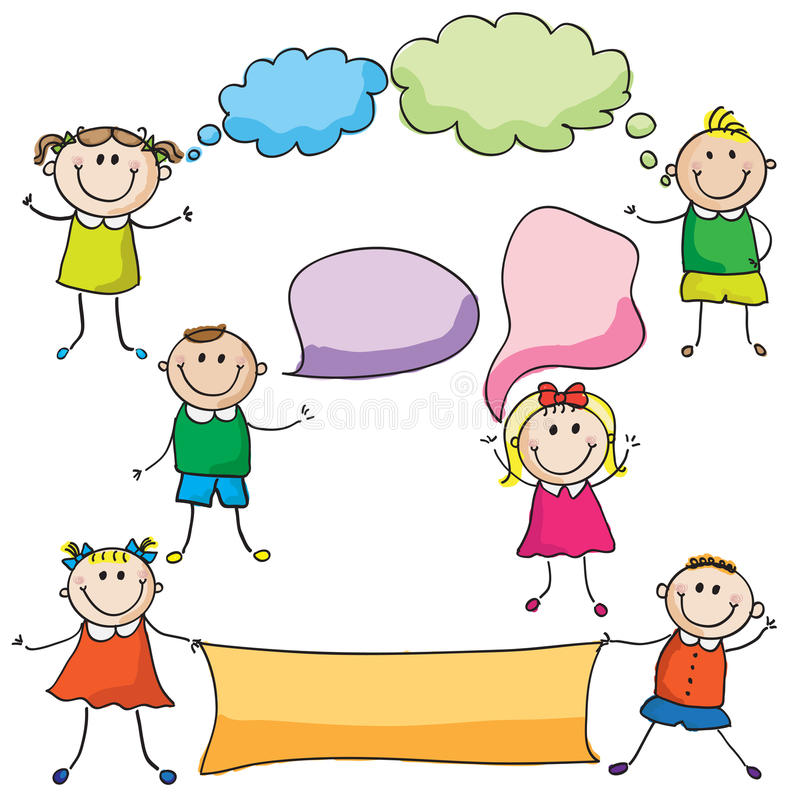 Free Kids With Speech Bubbles Stock Image - 26494321