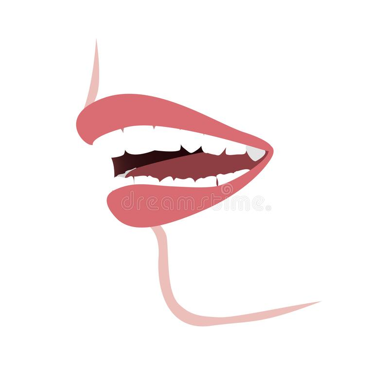 Mouth profile with a distal bite before the orthotropics or orthotropics treatment. Vector illustration. Kids or woman profile with a with a too small mandible vector illustration