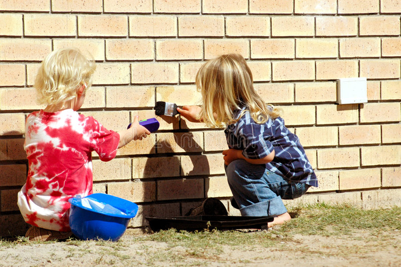 Kids working royalty free stock images