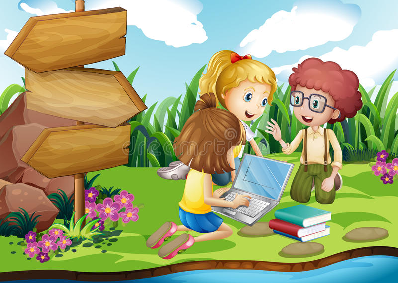 Kids working on computer in the park. Illustration royalty free illustration