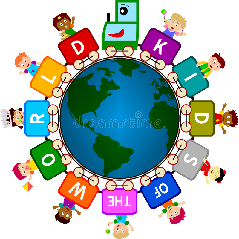 Kids of the World. Illustration of multicultural kids around the world symbolizing tolerance, peace, hope, our future