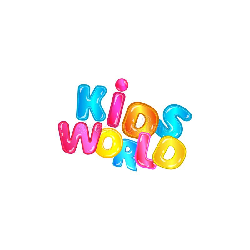Kids world - fun colorful font typography with blue, pink, yellow cartoon letters with shiny texture. Isolated on white background, child play room game zone stock illustration