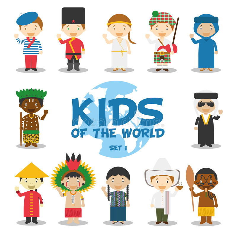 Kids of the world illustration: Nationalities Set 1. Set of 12 characters dressed in different national costumes. (France, Russia, Greece, Scotland, Algeria vector illustration