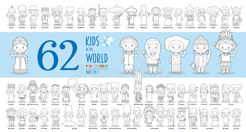 Kids of the World Vector Characters Collection Part 2: Set of 62 children of different nationalities for coloring royalty free illustration