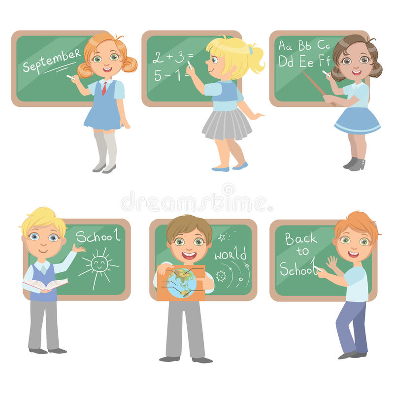 Kids Writing On Blackboard Set. Of Simple Design Illustrations In Cute Fun Cartoon Style On White Background royalty free illustration