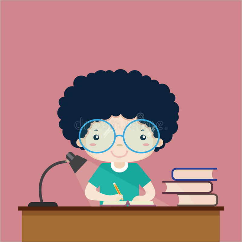 Kids on writing a book on the table. Vector cartoon vector illustration