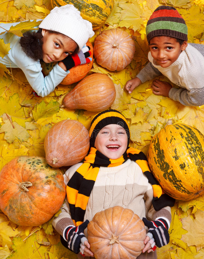 Kids among yellow leaves and orange pumpkings royalty free stock images
