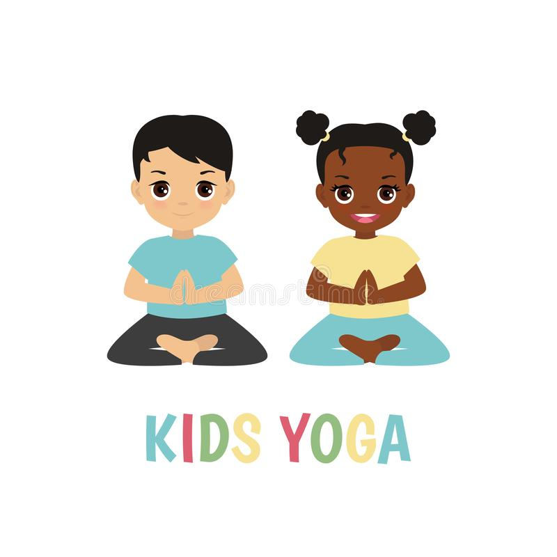 Children yoga logo. Kids yoga design concept with boy and girl in yoga positions stock illustration