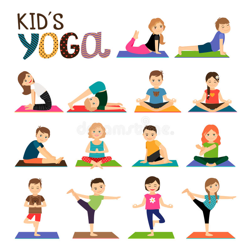 Free Kids Yoga Icons Set Stock Images - 81005584