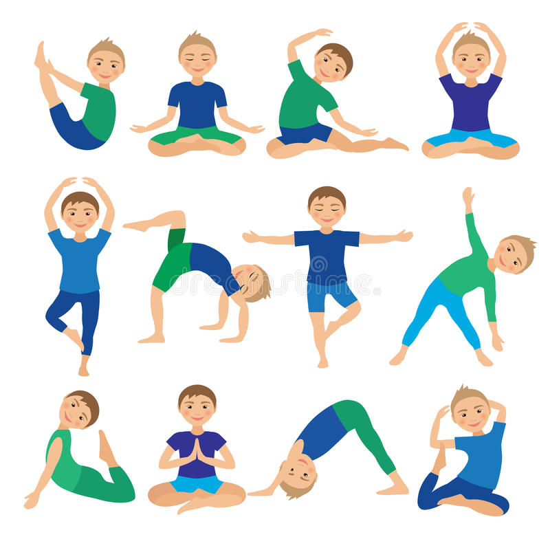 Kids Yoga Poses Vector Illustration. Child doing exercises. Posture for Kid. Healthy Children Lifestyle. Babies gymnastics. Sports royalty free illustration