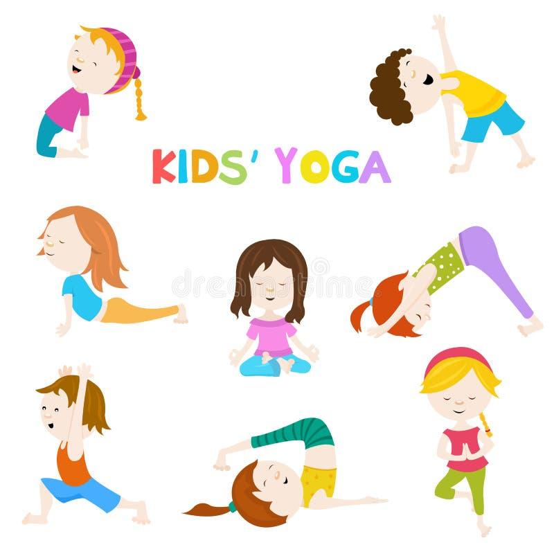 Kids& x27; Yogauppsättning vektor illustrationer