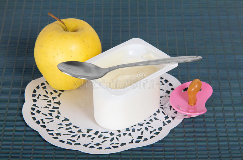 Kids Yogurt And Apple Stock Photo