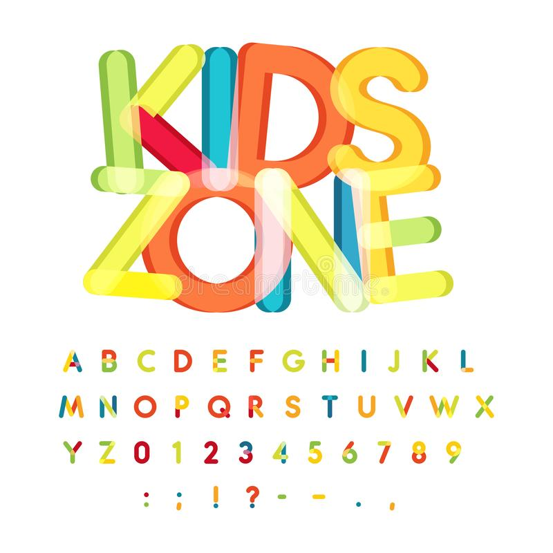 Kids zone alphabet, candy style, colorful vector font. Kids party, childrens birthday alphabet, holiday decoration stock illustration