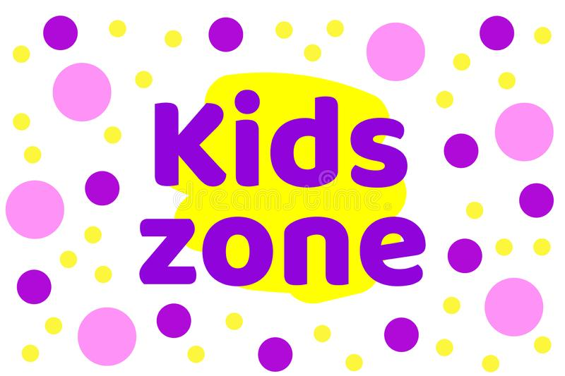 Kids zone with background from circles design. Playground for children. For game room logo. Vector illustration royalty free illustration