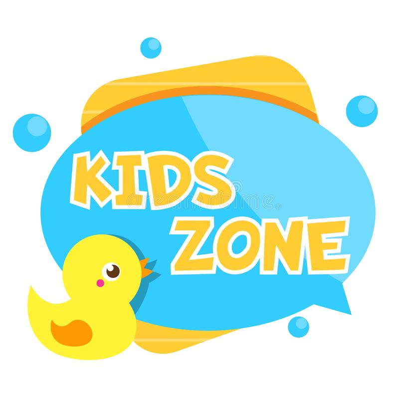 Kids zone banner. Colorful label with cute duck toy. Design template for baby and toddler design vector illustration