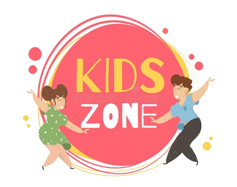 Kids Zone Banner Design. Place for Games Signboard. Kids Zone Banner Design. Couple of Little Boy and Girl Dancing Together on Creative Typography Background vector illustration