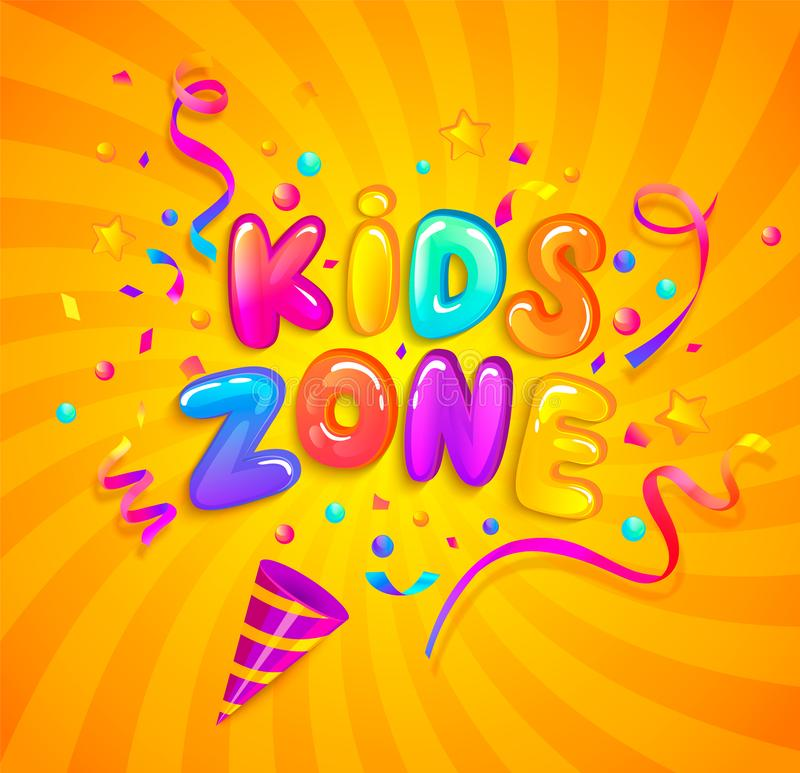 Kids zone banner with party cracker and confetti. vector illustration