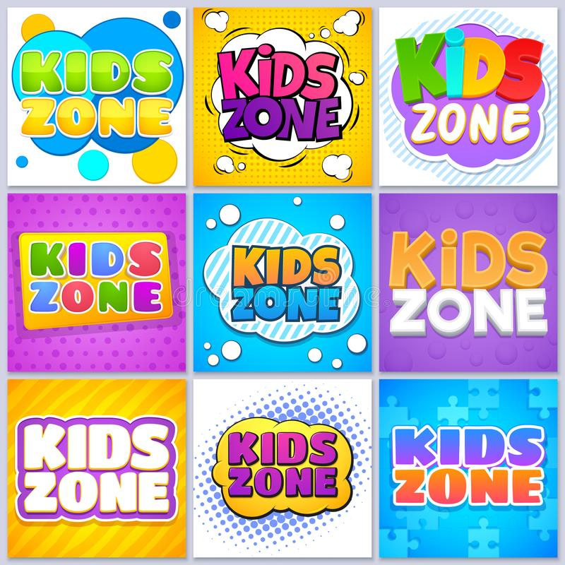 Kids zone banners. Children game playground labels with cartoon lettering. School children park area vector backgrounds royalty free illustration