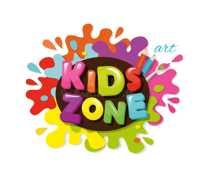 Kids zone colorful banner. Cartoon letters and paint splashes. Vector. Kids zone colorful banner. Cartoon letters and paint splashes. Vector illustration vector illustration