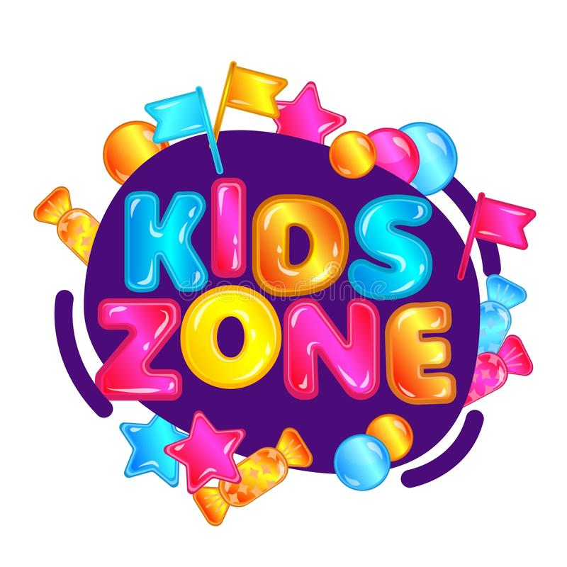Kids zone - colorful game playground sign with candy, stars and flags. vector illustration