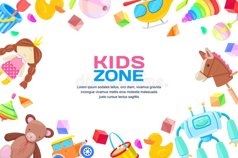 Kids zone concept, vector frame with toys set. Color toy for baby boy and girl, cartoon illustration. royalty free illustration