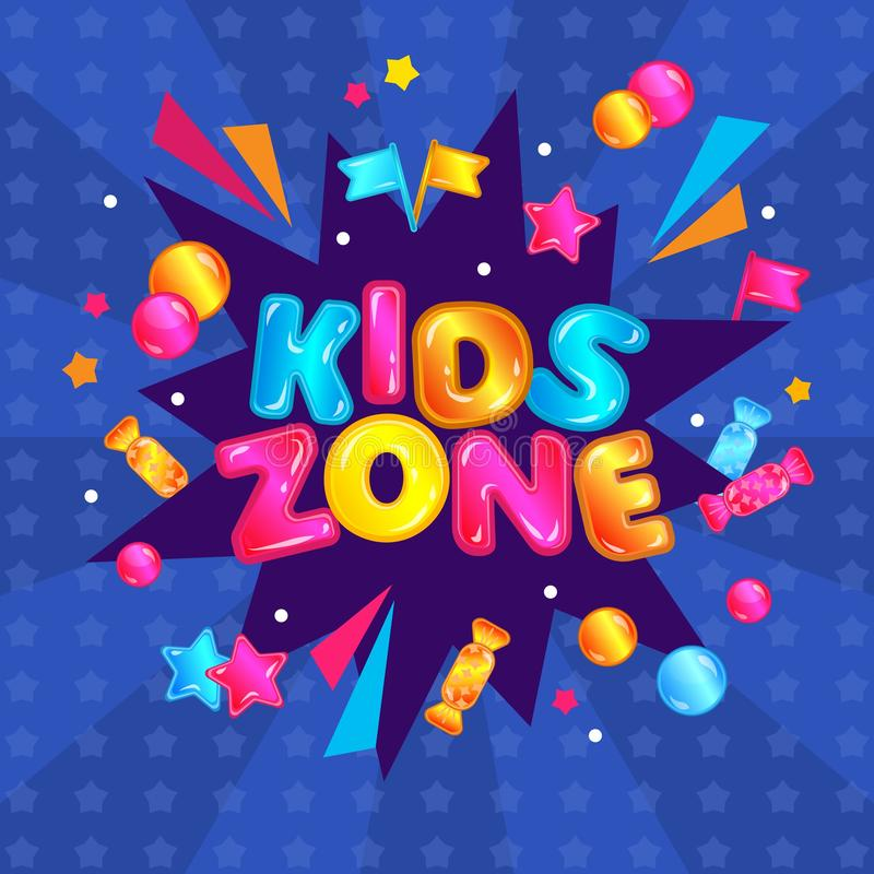 Kids zone fun play area banner sign. Colorful child entertainment game room sticker with confetti explosion royalty free illustration