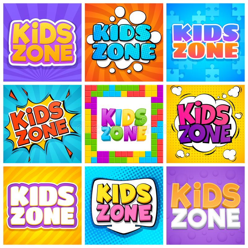 Kids zone. Kinder playroom banners for design cartoon text. Childrens playing park, backgrounds. Kids, zone. Kinder playroom banners design cartoon text royalty free illustration