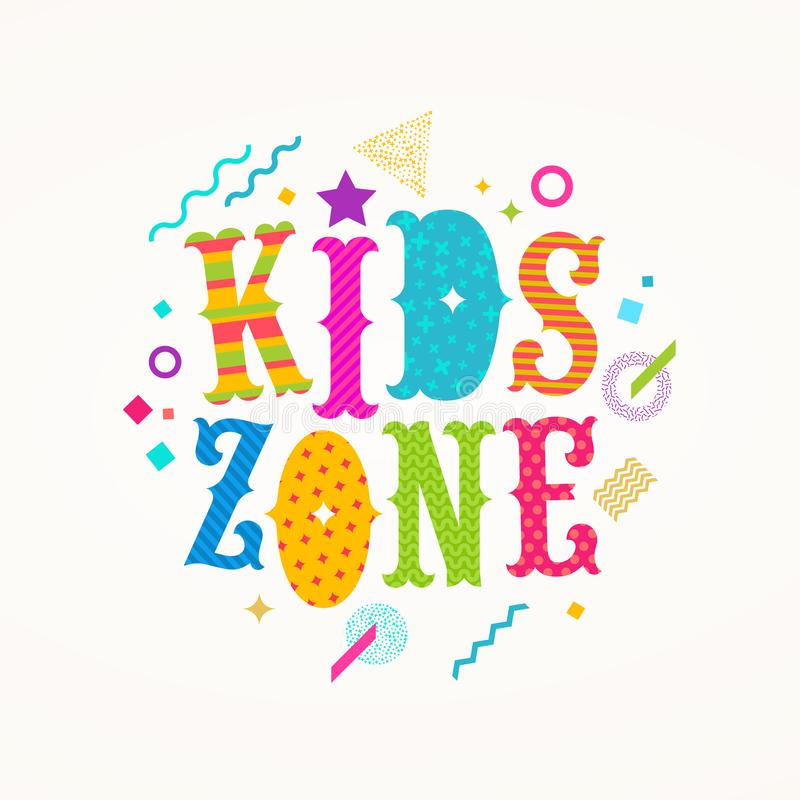 Kids zone logo. Emblem for children`s play area. royalty free illustration