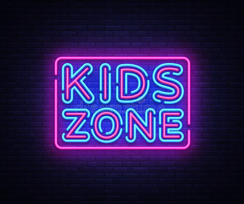 Kids Zone neon sign vector. Kids Zone design template neon sign, light banner, neon signboard, nightly bright stock illustration