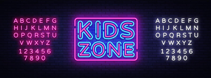Kids Zone neon sign vector. Kids Zone design template neon sign, light banner, neon signboard, nightly bright vector illustration