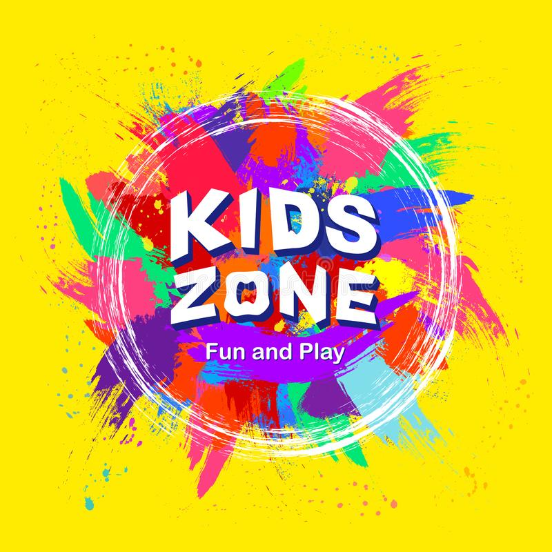 Kids zone vector cartoon logo. Colorful bubble letters for kids playroom decoration. The inscription on a yellow background. Vector illustration royalty free illustration