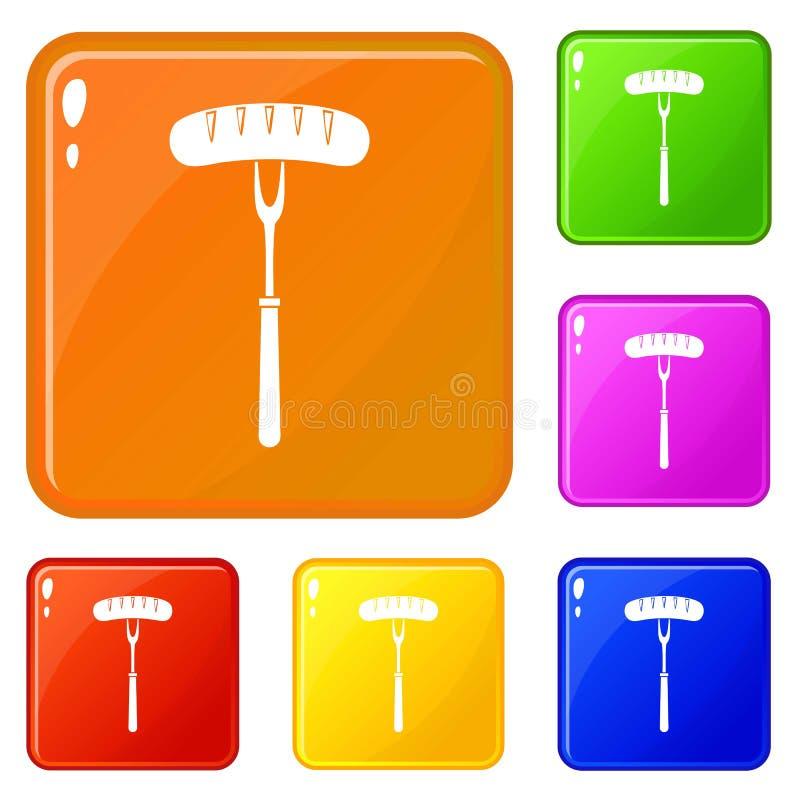 Kiełbasa na bbq rozwidlenia ikonach ustawia wektorowego kolor ilustracja wektor