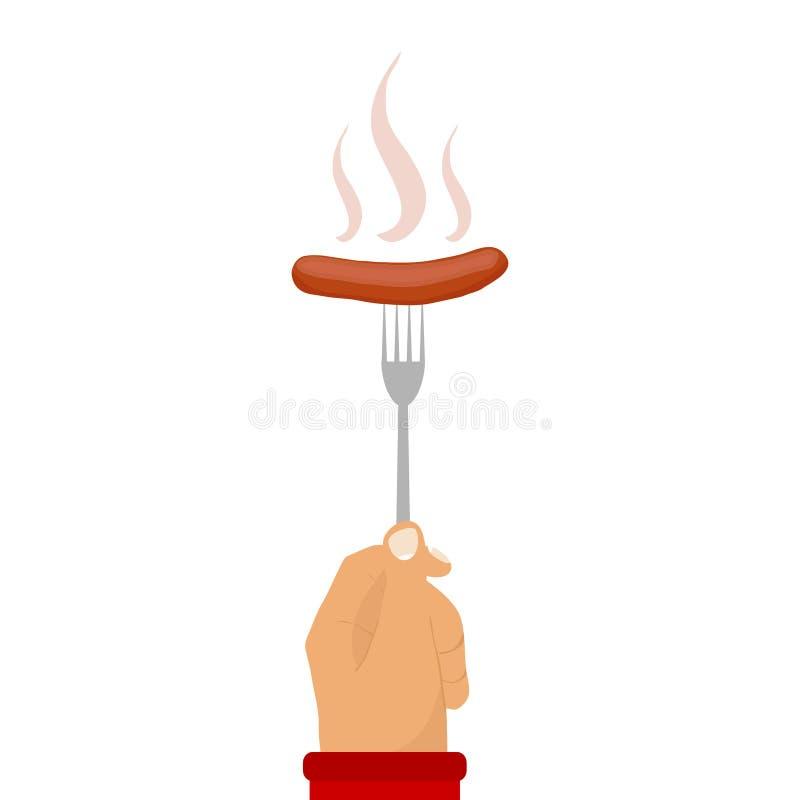 Kiełbasa na rozwidleniu, gorąca kiełbasa ilustracji