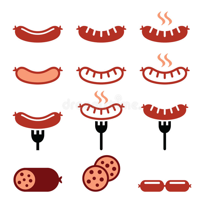 Kiełbasa, piec na grillu, z rozwidlenie kolorowymi ikonami ustawiać ilustracja wektor