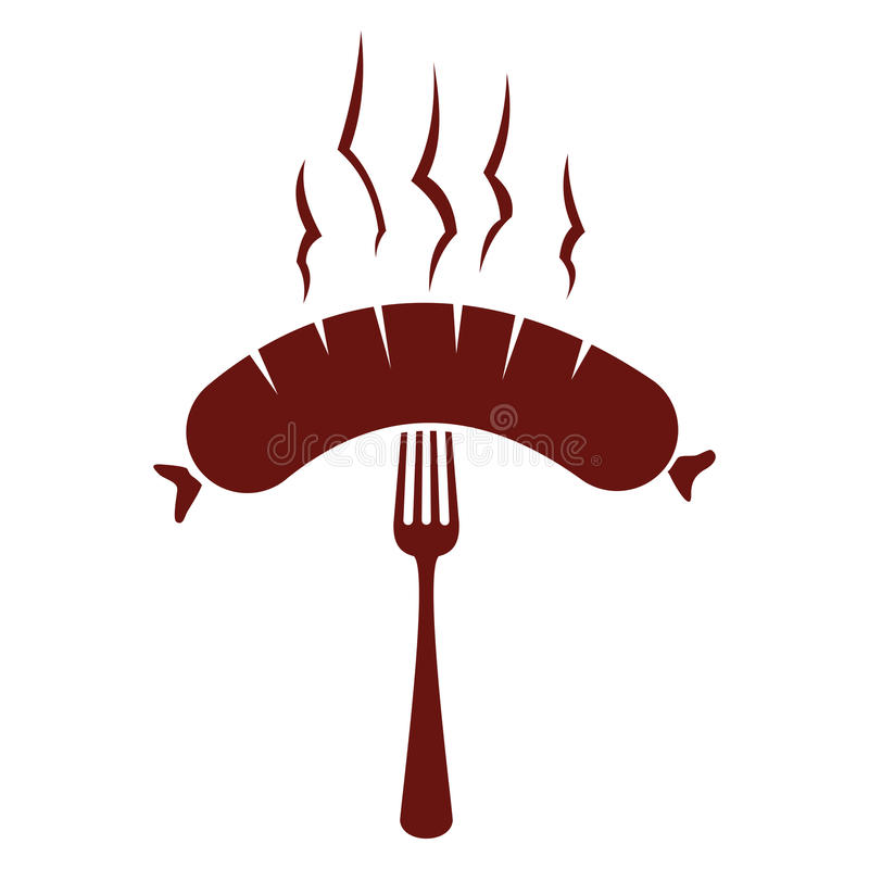 Kiełbasianego grilla ilustracyjna etykietka również zwrócić corel ilustracji wektora ilustracji