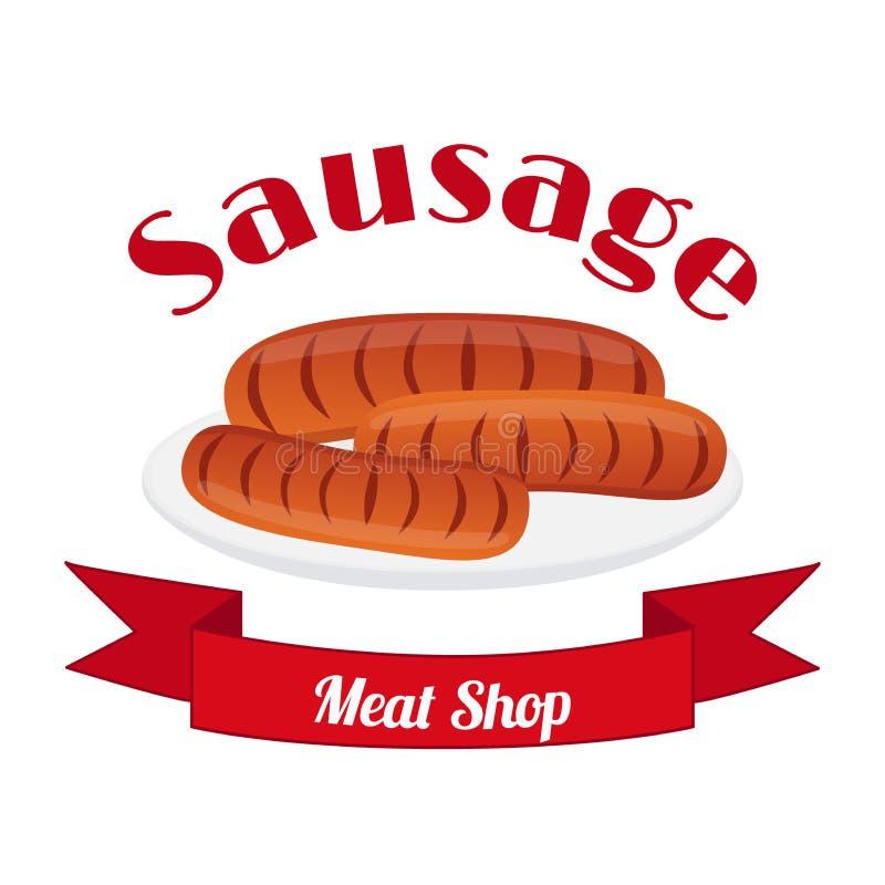 Kiełbasiany logo, etykietka dla menu, restauracje, sklepy, grill Mieszkanie styl ilustracji
