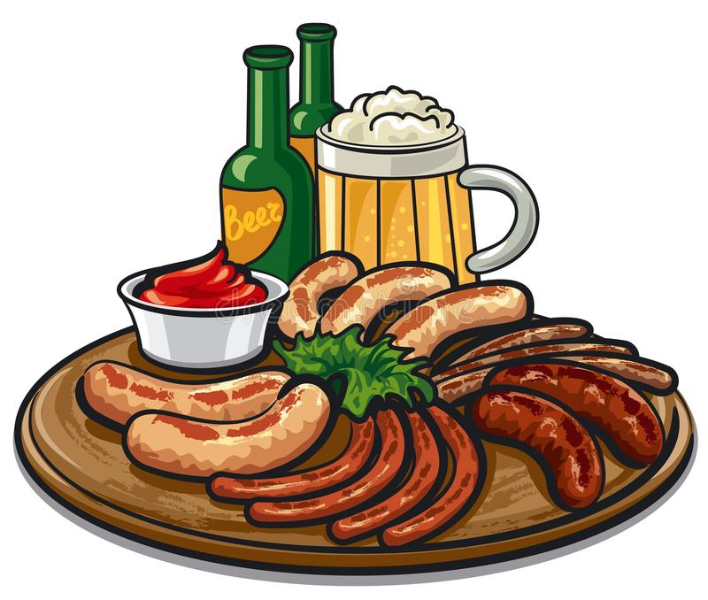 Kiełbasy i piwo ilustracji