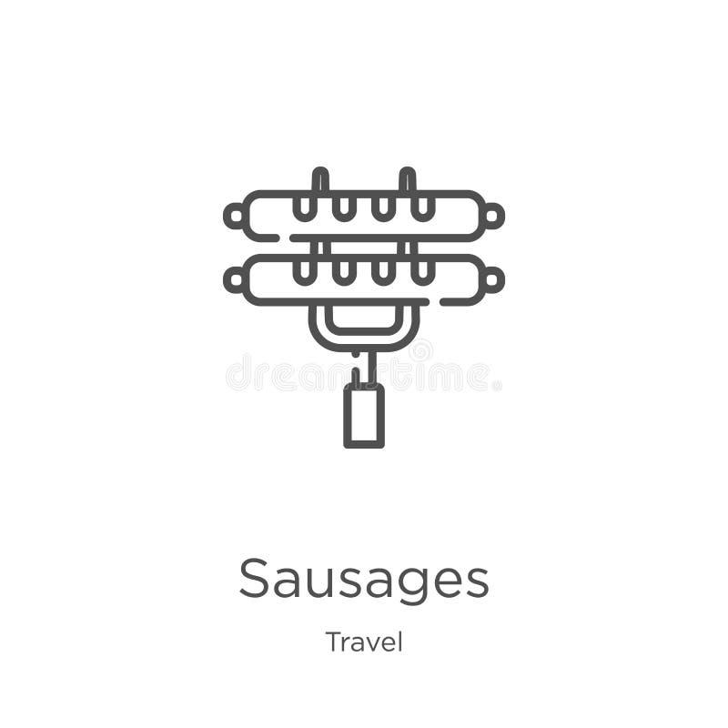 kiełbasy ikony wektor od podróży kolekcji Cienka kreskowa kie?basa konturu ikony wektoru ilustracja Kontur, cienieje kreskową kie ilustracji