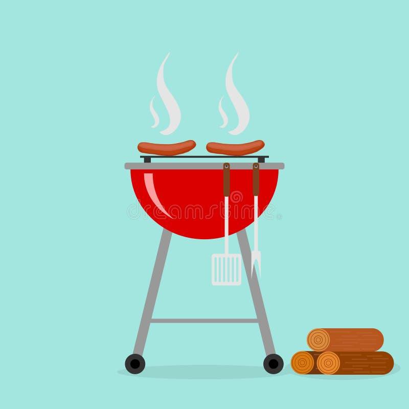 Kiełbasy na grillu royalty ilustracja