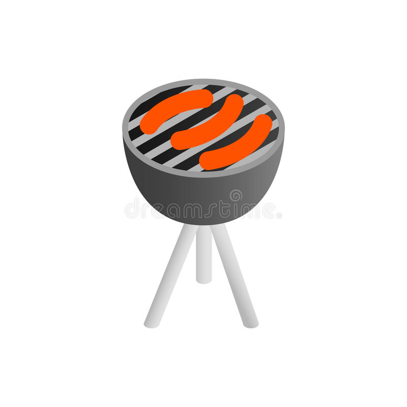 Kiełbasy piec na grillu nad węglami na grillu ilustracji