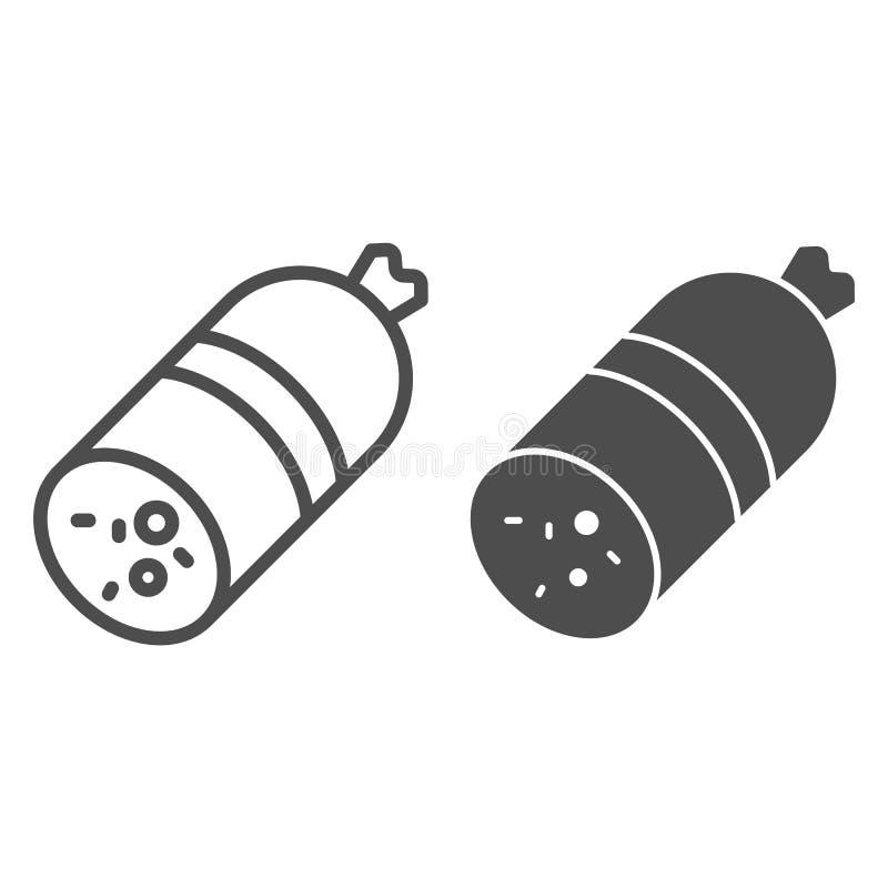 Kie?basy linia i glif ikona Mięsna wektorowa ilustracja odizolowywająca na bielu Salami konturu stylu projekt, projektujący dla s royalty ilustracja