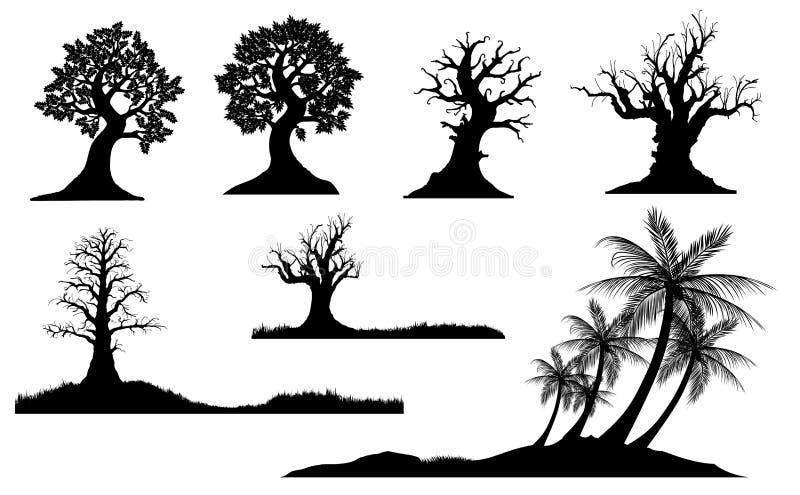 kiedy projekt zawiera tekstury sylwetki używa drzew ilustracja wektor