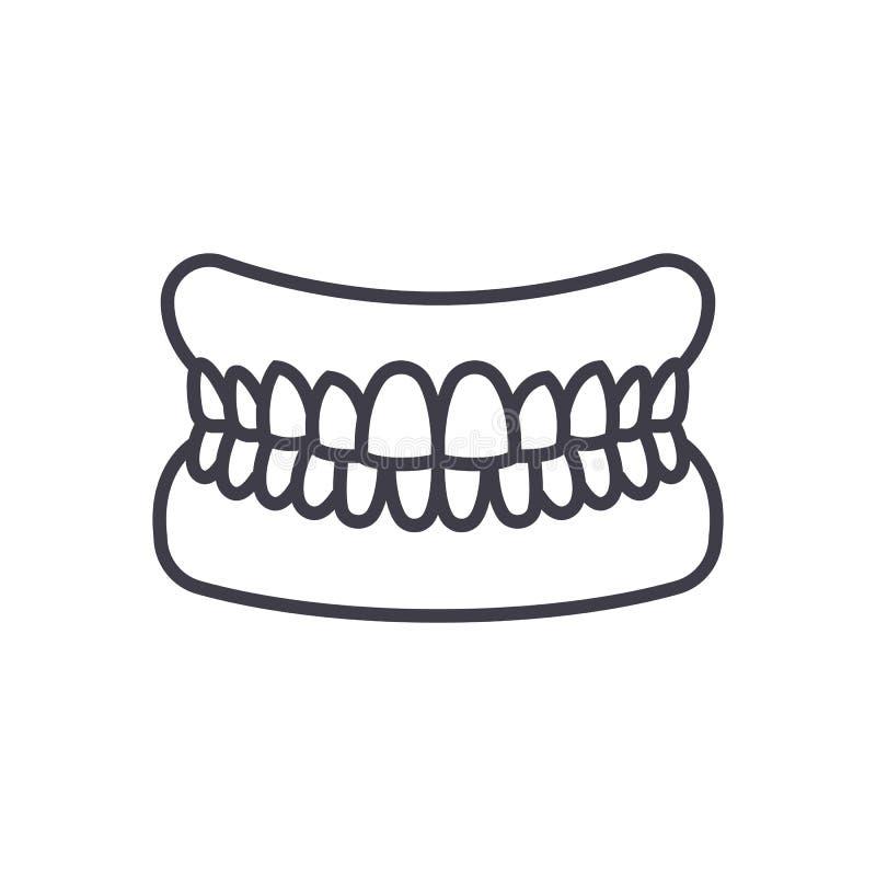 Kiefer mit den Zähnen vector Linie Ikone, Zeichen, Illustration auf Hintergrund, editable Anschläge lizenzfreie abbildung